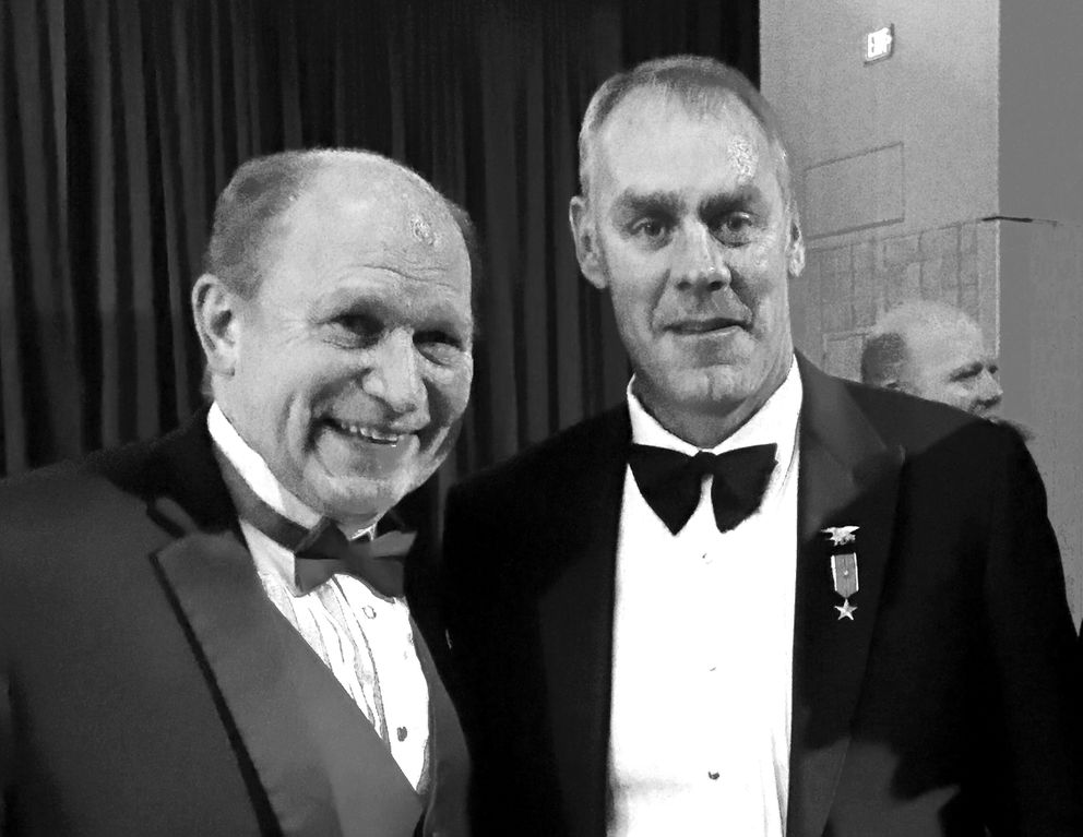 Gov. Bill Walker, left, poses with Trump's nominee forinterior secretary, Ryan Zinke, during inaugural festivities on Jan. 20in Washington, D.C. (Courtesy Governor's Office)