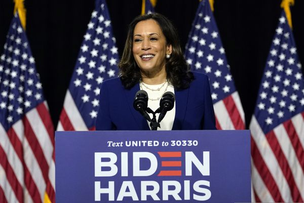 Sen. Kamala Harris, D-Calif., speaks after Democratic presidential candidate former Vice President Joe Biden introduced her as his running mate during a campaign event at Alexis Dupont High School in Wilmington, Del., Wednesday, Aug. 12, 2020. (AP Photo/Carolyn Kaster)