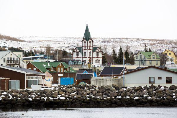 A view of Húsavík, Iceland appears on Thursday, April 8, 2021.