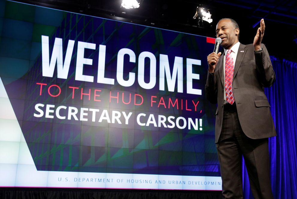 Secretary of Housing and Urban Development Ben Carson speaks to employees of the agency in Washingtonon Monday. REUTERS/Joshua Roberts