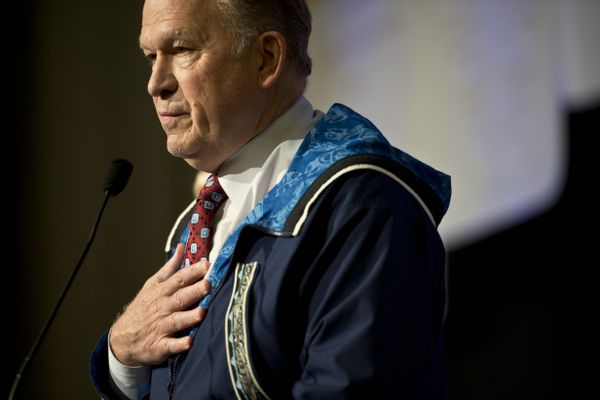 Gov. Bill Walker announced that he's suspending his campaign for election at the Alaska Federation of Natives annual convention on October 19, 2018. (Marc Lester / ADN)