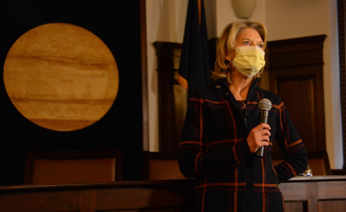 U.S. Sen. Lisa Murkowski, R-Alaska, answers questions from news media on Tuesday at the Alaska State Capitol in Juneau. (James Brooks / ADN)