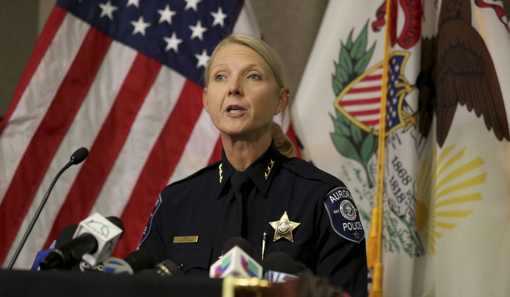 Aurora Police Chief Kristen Ziman speaks at a news conference Friday, Feb. 15, 2019, in Aurora, Ill., about the shootings at a manufacturing company in the city. Several people were killed and several police officers injured, police say, before the gunman, an employee of the company, was fatally shot. (Patrick Kunzer/Daily Herald via AP)