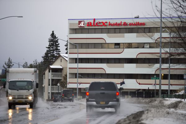The Alex Hotel, at 4613 Spenard Road, was the site of a shooting on December 4, 2017.