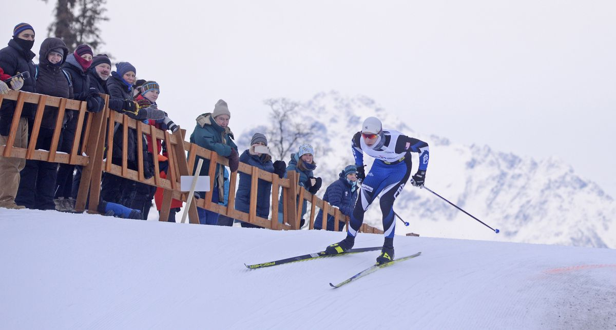 Hunter Wonders enters the finish chute on his way to a second-place finish at a February race at the Government Peak Recreation Area. (Photo by Eric Engman)
