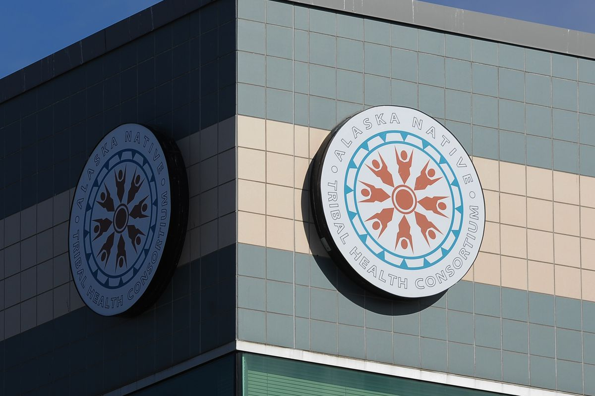 The Alaska Native Tribal Health Consortium logo on a building on the Alaska Native Health Campus. (Erik Hill / ADN archives)