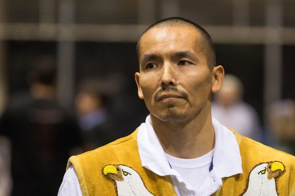 Marvin Roberts, one of the Fairbanks Four, at a potlatch held in their honor at the Big Dipper arena in Fairbanks on Wednesday, Oct. 19, 2016. The men spent 18 years in prison for a 1997 murder they say they didn't commit, and were released after a December 2015 settlement with the state. (Loren Holmes / ADN)