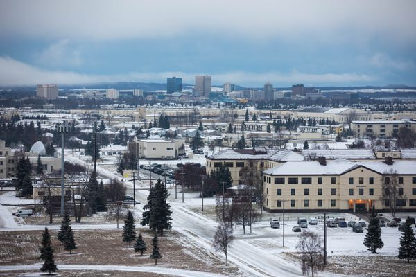 Joint Base Elmendorf-Richardson and downtown Anchorage are seen from the JBER air traffic control tower on Friday, Dec. 7, 2018. (Loren Holmes / ADN)