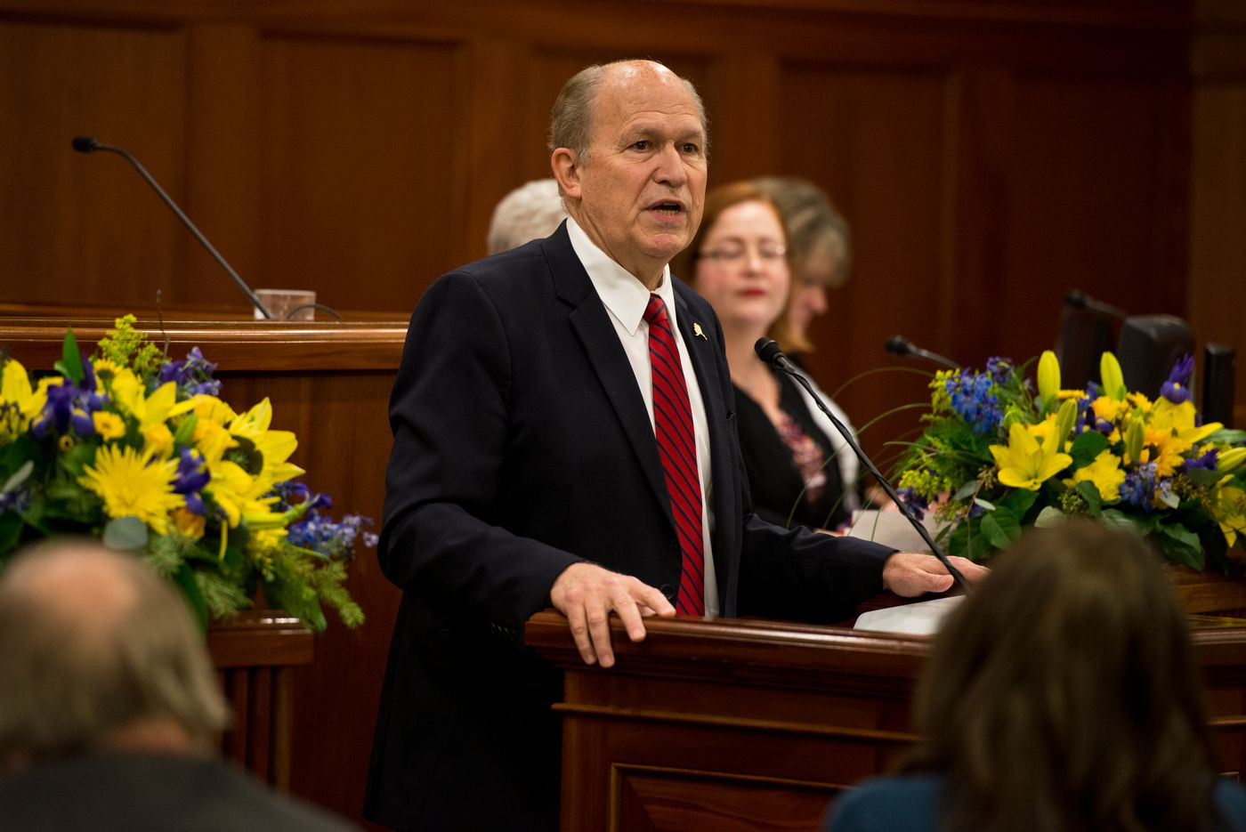 Gov. Bill Walker gives his State of the State address in January. (Marc Lester / ADN archive 2017)