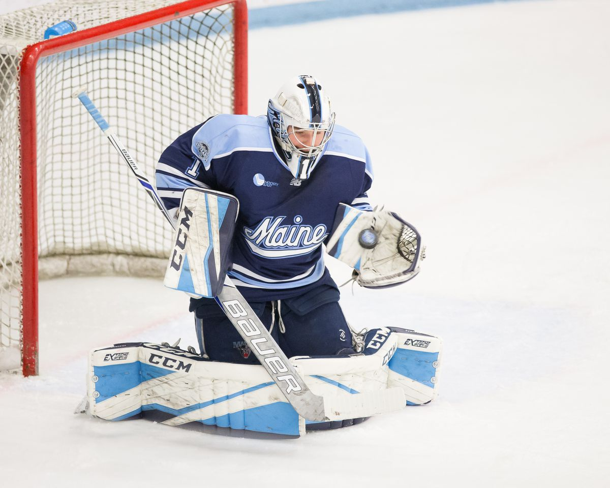 Anchorage's Jeremy Swayman, a junior goaltender at the University of Maine, was one of three finalists for the Hobey Baker Award. (Photo by Peter Buehner via the University of Maine)