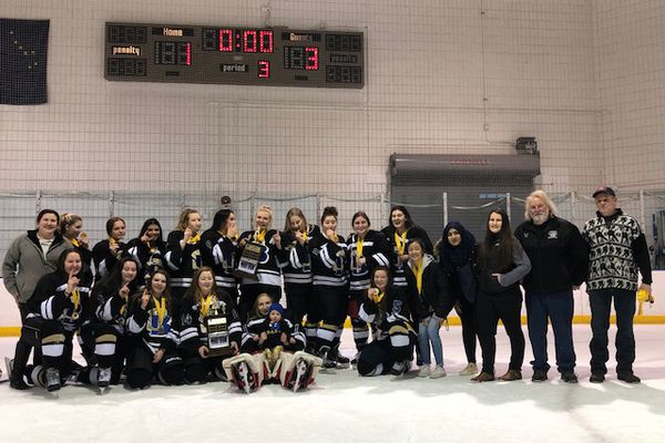 South-Bartlett captured the championship of the Anchorage high school girls hockey league at Ben Boeke Arena on Saturday, Feb. 2, 2019. (Photo courtesy Anchorage Hockey Association)