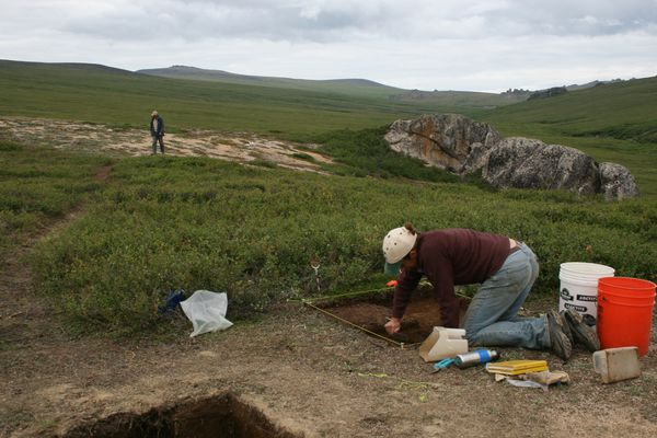 An archaeological site near Serpentine Hot Springs on the Seward Peninsula. (Photo by Ted Goebel)