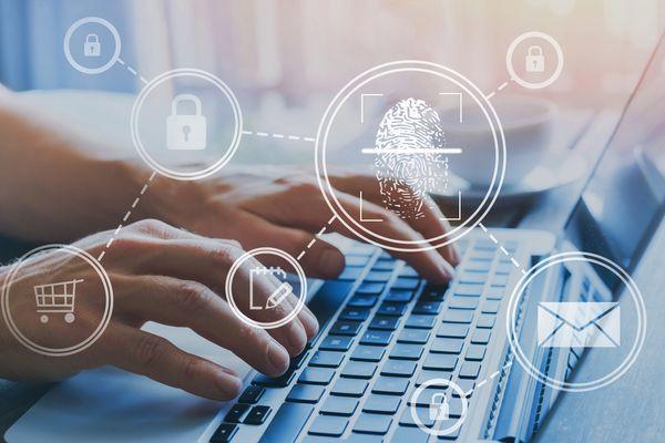 fingerprint authorisation access concept, personal data information security