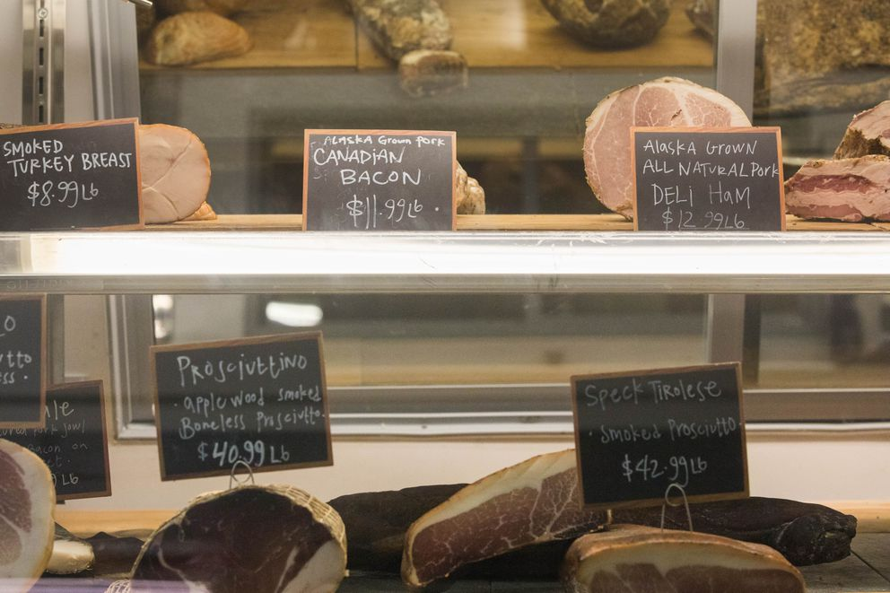 Cured meats for sale at Butcher Block No. 9 and Charcuterie in south Anchorage on Wednesday, Nov. 30, 2016. (Loren Holmes / ADN archive)