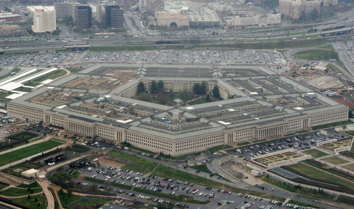 This March 27, 2008, aerial file photo, shows the Pentagon in Washington. The Pentagon on Friday, Sept. 4, 2020, reaffirmed Microsoft as winner of a cloud computing contract potentially worth $10 billion. (AP Photo/Charles Dharapak, File)