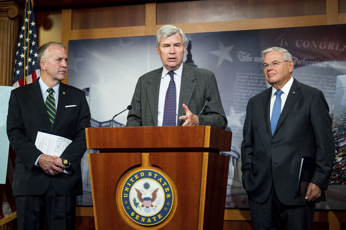 U.S. Sens. Dan Sullivan (R-AK), left, Sheldon Whitehouse (D-RI), center, and Bob Menendez (D-NJ) speak at a press conference to advocate for the Save Our Seas 2.0 Act at the Capitol in Washington on June 26, 2019. (Photo by Michael Brochstein/Sipa USA)(Sipa via AP Images)