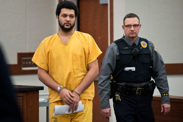 Damien Peterson was arraigned at the Palmer courthouse on February 21, 2017. He's accused of killing 16-year-old Frank Woodford. (Marc Lester / ADN)
