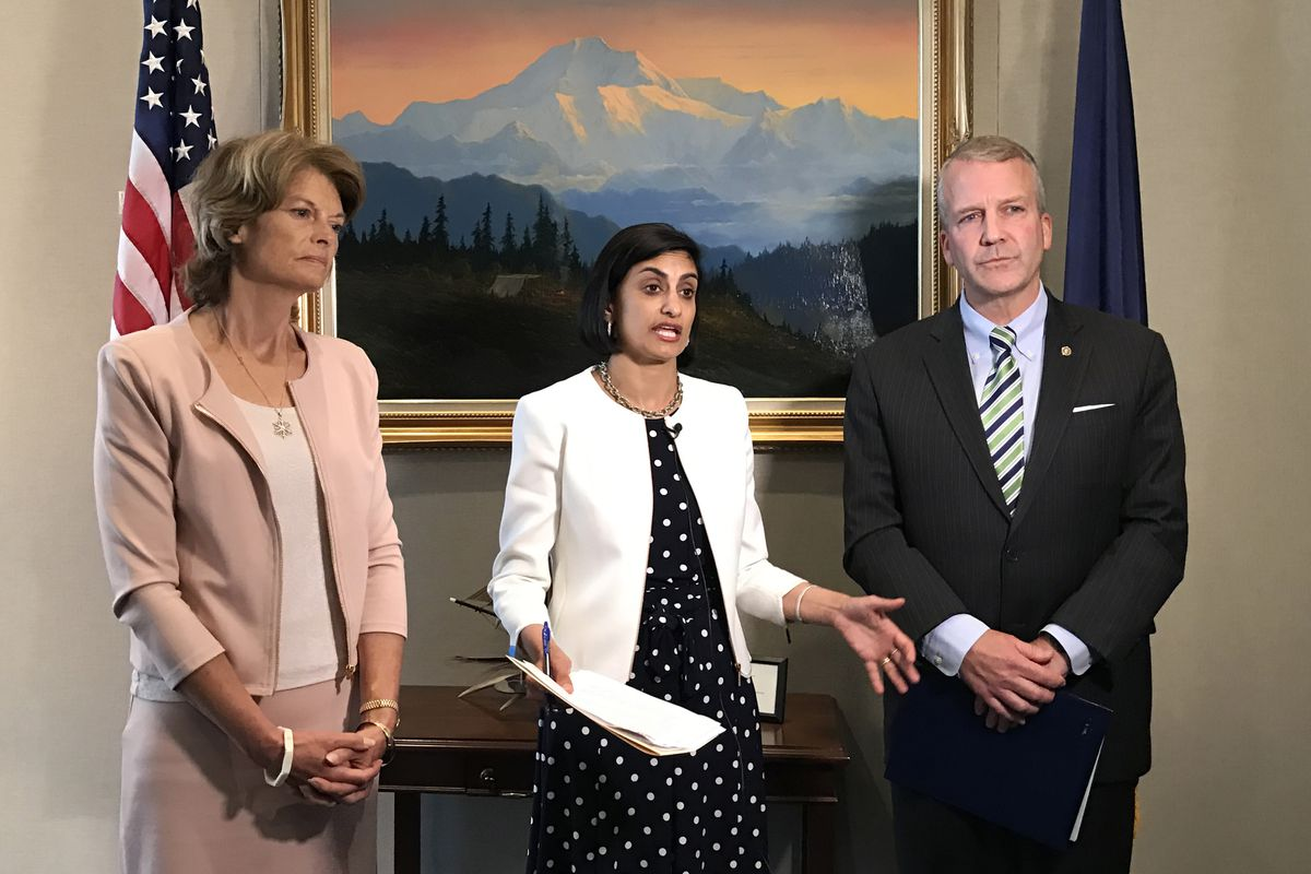 From left Sen. Lisa Murkowski R-Alaska, Centers for Medicare and Medicaid Services Administrator Seema Verma and Sen. Dan Sullivan, R-Alaska, discuss the approval of new federal funding for Alaska's individual health insurance market on Tuesday in Washington, D.C. (Erica Martinson / Alaska Dispatch News)
