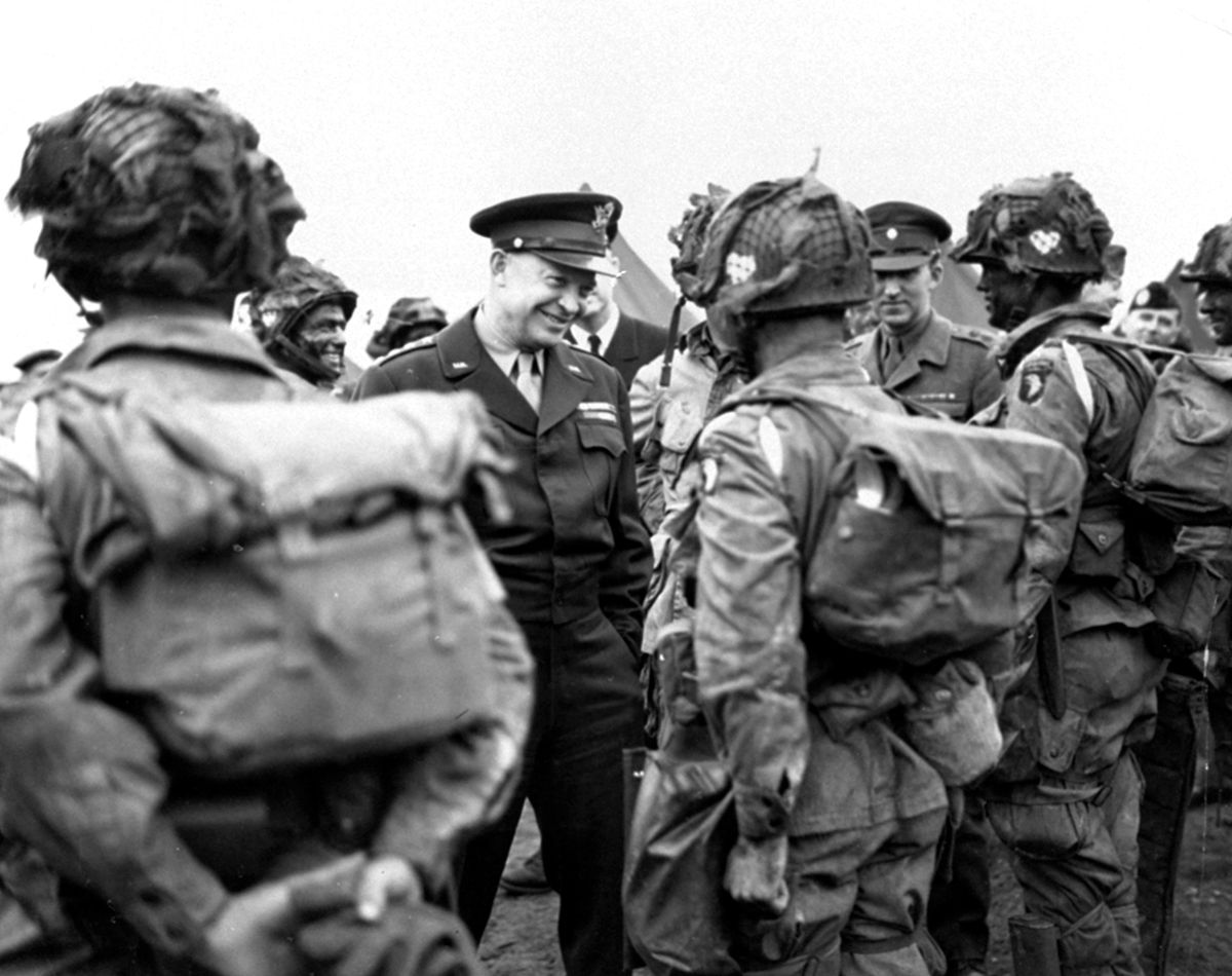 FILE - In this June 6, 1944, file photo, provided by the U.S. Army Signal Corps, General Dwight Eisenhower gives the order of the day,