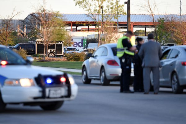 Schertz Police block off Doerr Lane near the scene of a blast at a FedEx facility in Schertz, Texas, U.S., March 20, 2018. REUTERS/Sergio Flores