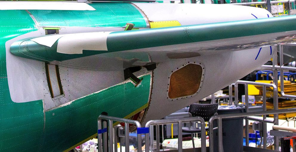 The rear horizontal stabilizer of a Boeing 737 MAX can pivot in unpredictable ways if the MCAS system is not operating properly, in the 737 factory in Renton, Wash., on March 27, 2019. (Mike Siegel/Seattle Times/TNS)