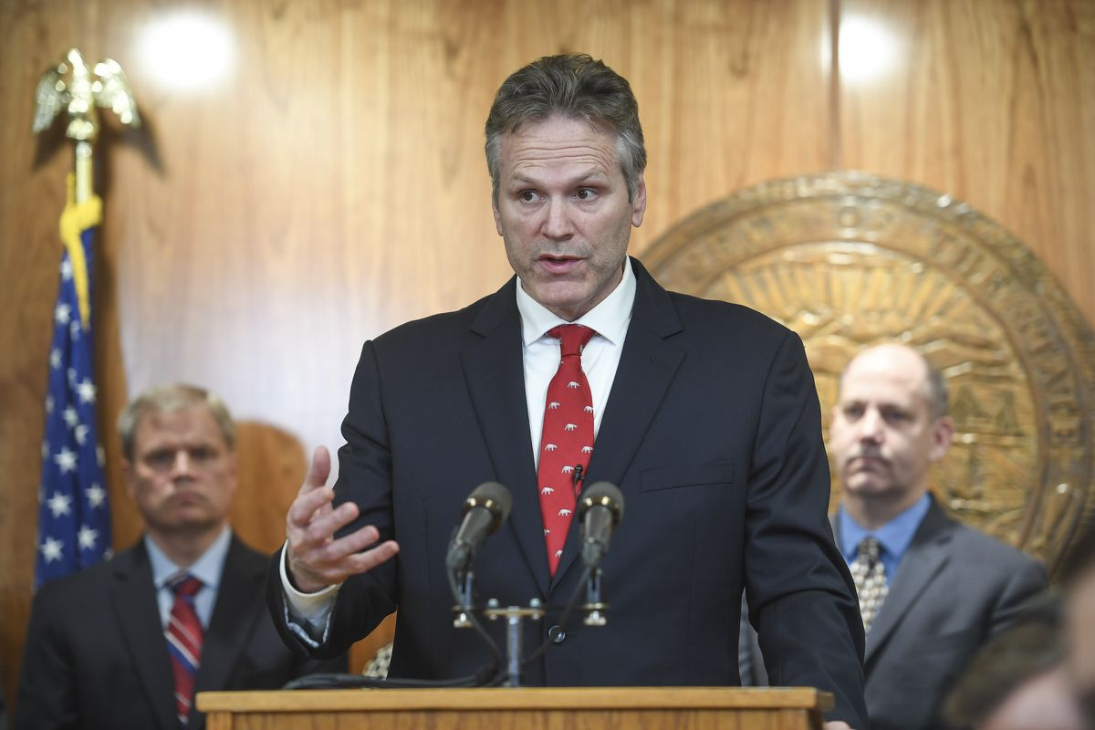 Alaska Gov. Mike Dunleavy announces his state budget during a press conference at the Capitol in Juneau, Alaska, on Wednesday, Dec. 11, 2019. (Michael Penn/Juneau Empire via AP)