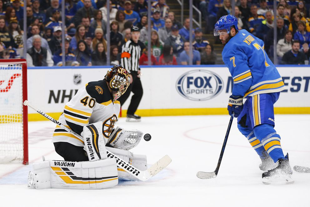 FILE - In this Feb. 23, 2019, file photo, Boston Bruins goalie Tuukka Rask (40), of Finland, makes a save against St. Louis Blues' Patrick Maroon (7) during the second period of an NHL hockey game, in St. Louis. The Bruins and Blues will meet in the Stanley Cup Final, a rematch of the 1970 series that ended with Bobby Orr's famous goal and leaping celebration. Boston has been in the final three times in the past nine seasons, but this is St. Louis' first trip in 49 years. (AP Photo/Dilip Vishwanat, File)