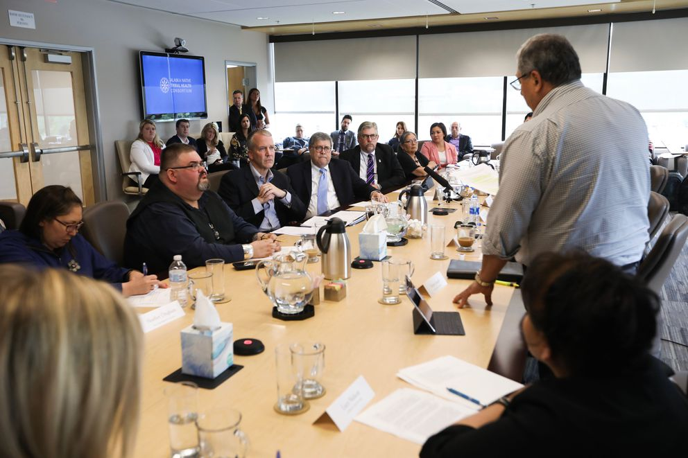Victor Joseph from the Tanana Chiefs Conference speaks to U.S. Attorney General William Barr during a Native justice roundtable Wednesday. (Loren Holmes / ADN)