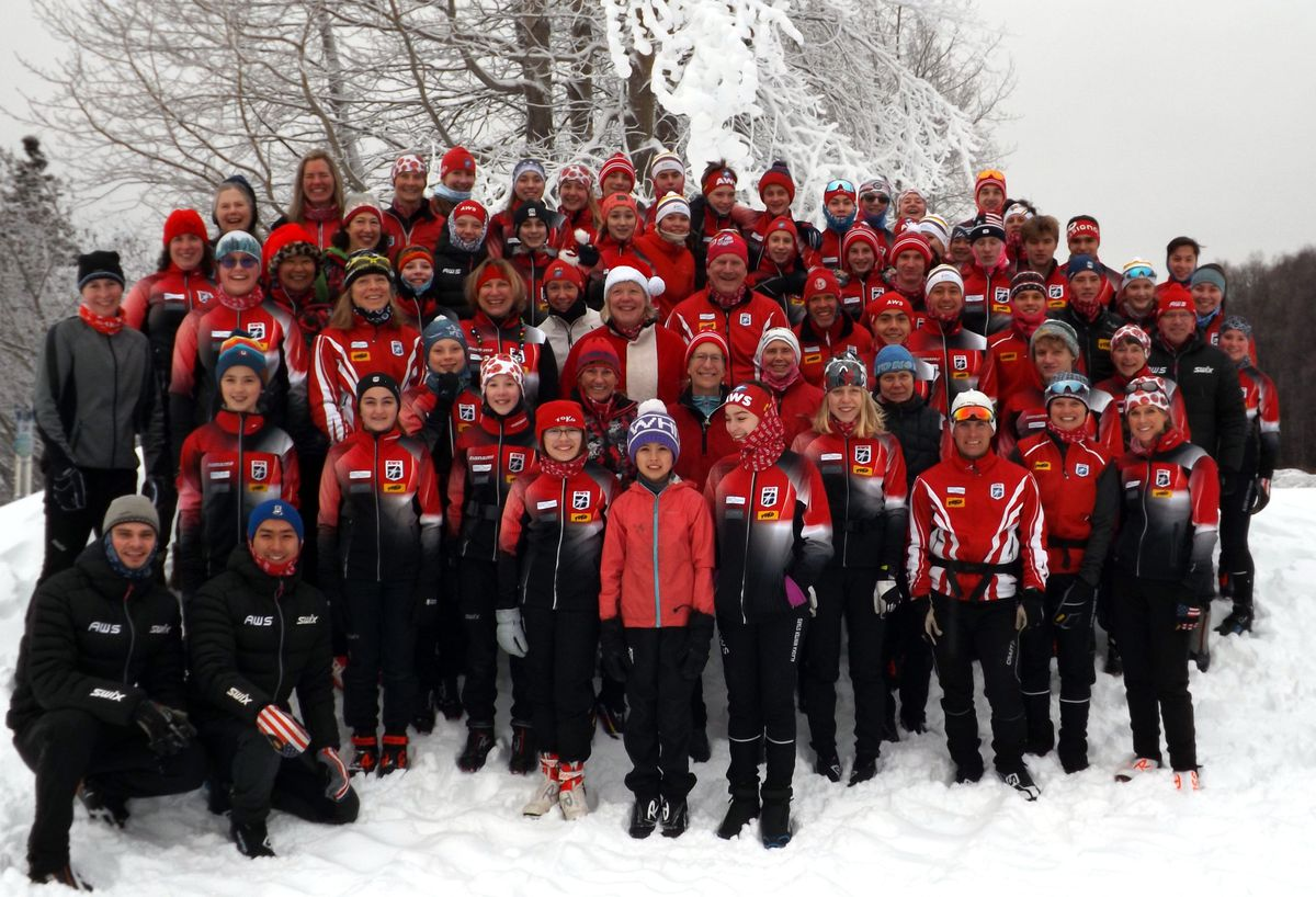 Members of the Alaska Winter Stars gather for their annual Christmas photo in December 2019. The Anchorage club was named the cross-country ski club of the year by U.S. Ski & Snowboard. (Photo by Jan Buron)