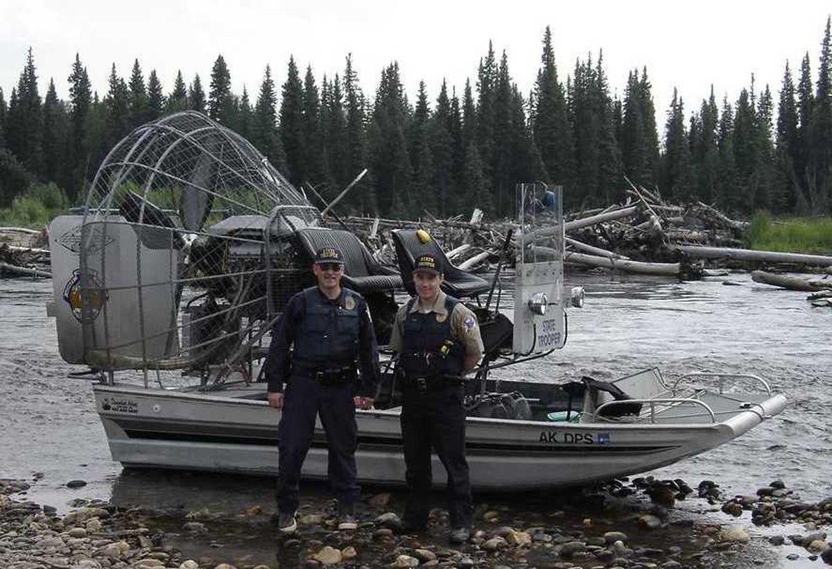 Airboat patrol on the Salcha River (Alaska Wildlife Troopers photo)