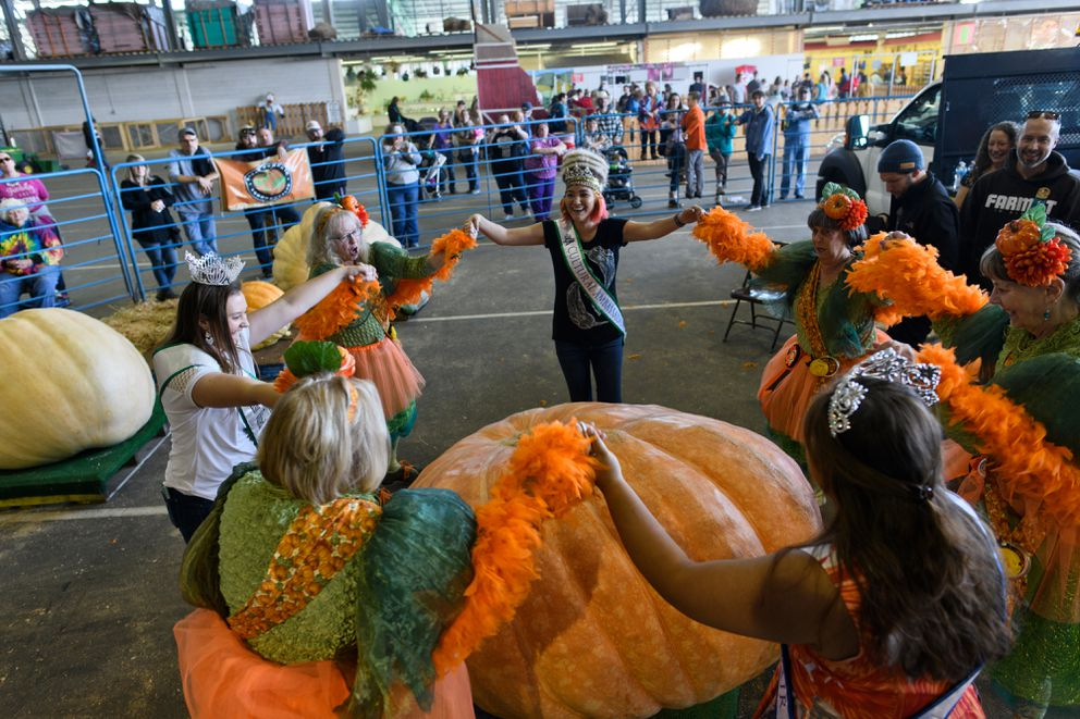 The Pumpkin Fairies and a few pageant winners form a ring around the biggest pumpkin before it is weighed. (Marc Lester / ADN)