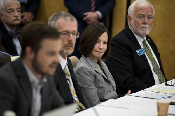 University of Alaska Anchorage Chancellor Cathy Sandeen, second from right, listens as student representative Alex Jorgensen speaks. The University of Alaska Board of Regents met at UAA to discuss restructuring the university in the face of budget cuts on July 30, 2019. (Marc Lester / ADN)
