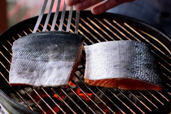 When grilling sockeye salmon start with the skin side up to retain moisture while cooking. June 1, 2015. (Tara Young / Alaska Dispatch News)