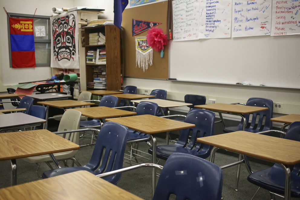 Chairs and desks remain pushed to the back of Lynda Prince's classroom on the first day of school at Bartlett High School in Anchorage, on Aug. 20, 2020. (Emily Mesner / ADN)