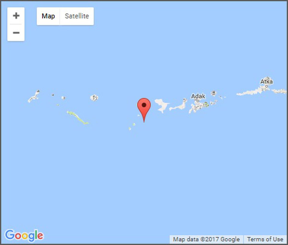 A 6.4 earthquake struck about 90 miles west of Adak at a depth of 1 mile on Monday, May 8, 2017. (From Alaska Earthquake Center)