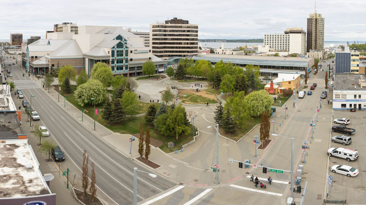 "Town Square Park, seen in a panoramic photo stitched together from multiple exposures, on May 11, 2016. The Anchorage Downtown Partnership is planning a free outdoor showing of the movie ""The Lion King"" there Friday, Sept. 7, 2018.   (Loren Holmes / Alaska Dispatch News)"