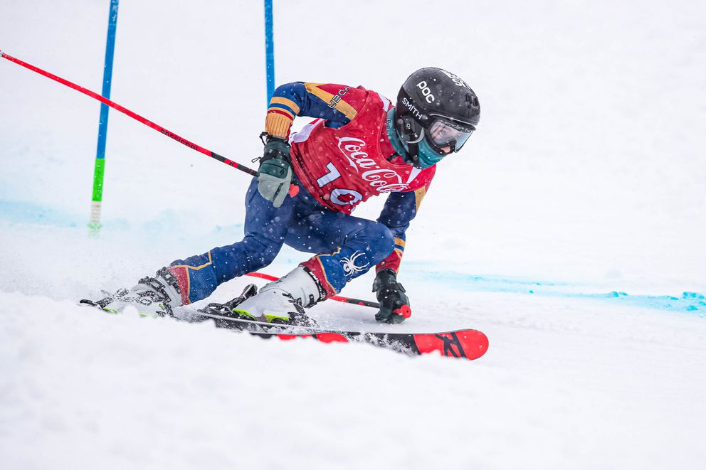 Katie Rowekamp looks ahead Friday en route to a sweep of the U12 giant slalom titles. She was second overall in both races. (Courtesy Bob Eastaugh)