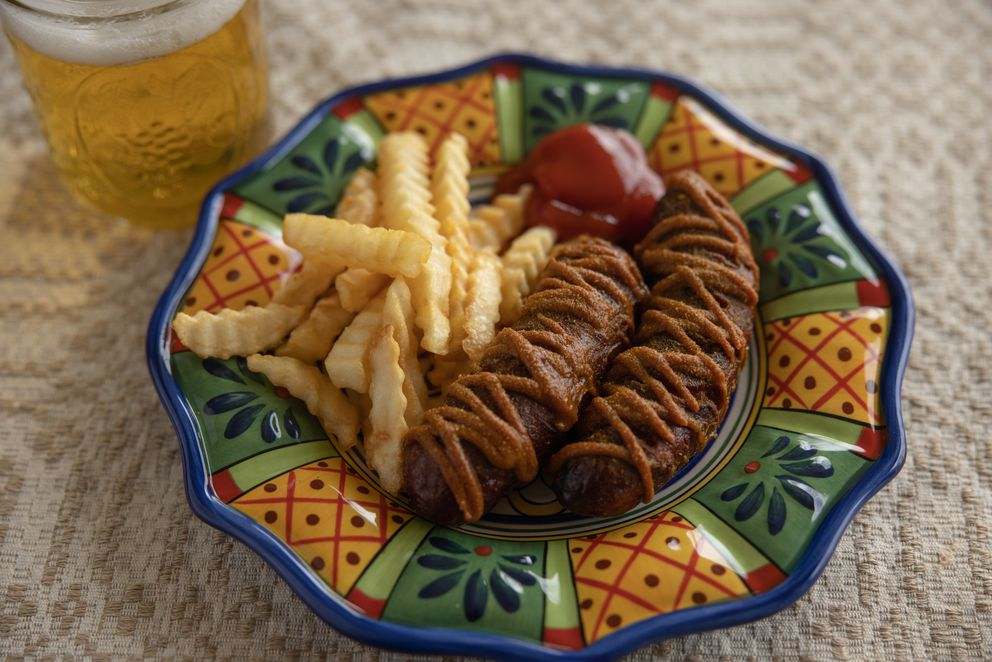 Currywurst with French fries from West Berlin in Anchorage (Photo by Kerry Tasker)