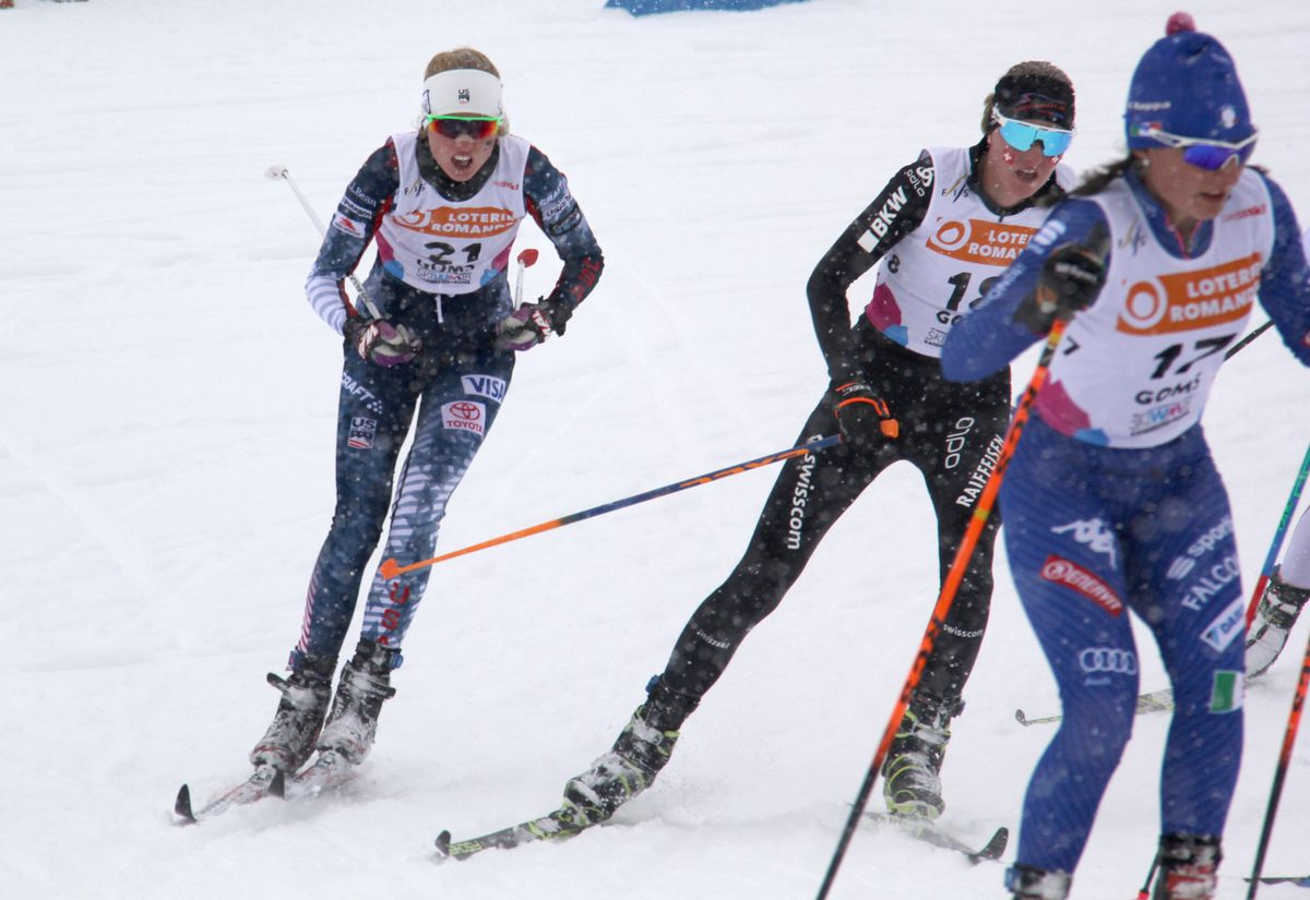 Hailey Swirbul of UAA (21) takes a corner during the 10-kilometer skiathon Thursday at the World Junior Championships in Goms, Switzerland. Swirbul claimed a bronze medal, two days after winning silver in the 5K classic.  (Photo by Glenn Gellert)
