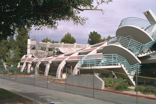 A parking garage collapsed in the 1994 Northridge earthquake in Southern California. About 60 people died in the quake, 5,000 were injured, and damages totaled $20 billion. (USGS photo)