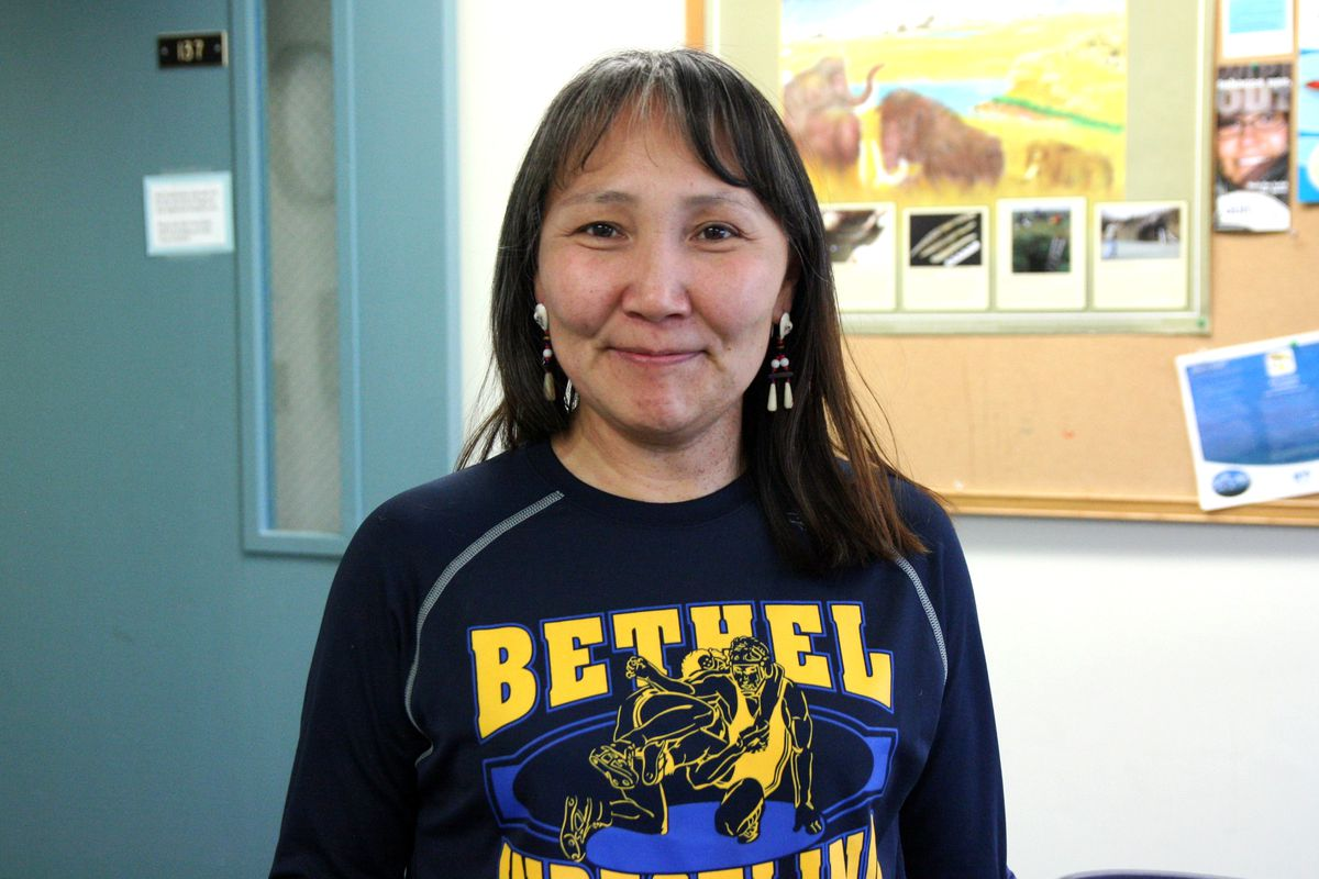 The Lower Kuskokwim School District is making a big push to create more homegrown teachers. Isabelle Dyment has worked as a nontraditional classroom teacher and is one of a handful selected to be paid while going to college full-time to earn her teaching degree. (Lisa Demer / Alaska Dispatch News)