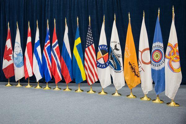 The flags of the Arctic Council Member States and Permanent Participants (Indigenous peoples' organizations). (Arctic Council Secretariat / Linnea Nordström)
