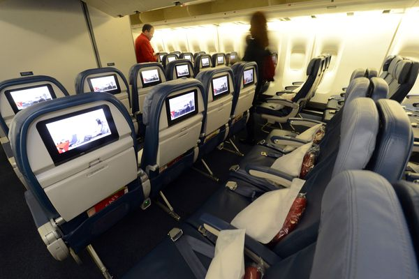 Economy seating is shown on a Delta Airlines 747 at Maynard H. Jackson International Terminal on March 20, 2013. (Kent D. Johnson/Atlanta Journal-Constitution/MCT)