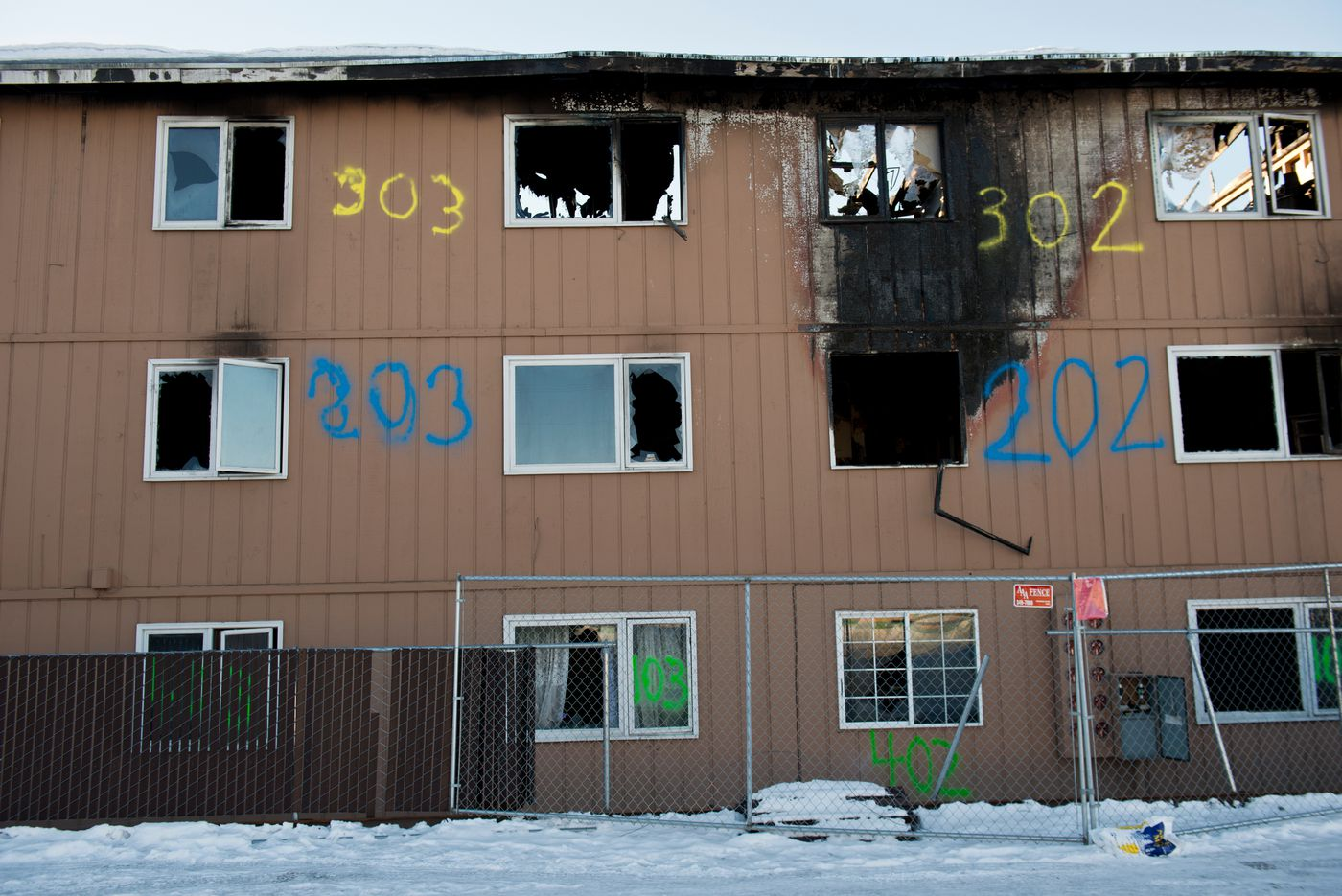 Four members of the Engelking family were home at apartment 303 when fire spread through Royal Suite Apartments. All escaped the building from the third floor window. The fire killed three people and destroyed much of Royal Suite Apartments in February 2017. (Marc Lester / Alaska Dispatch News)