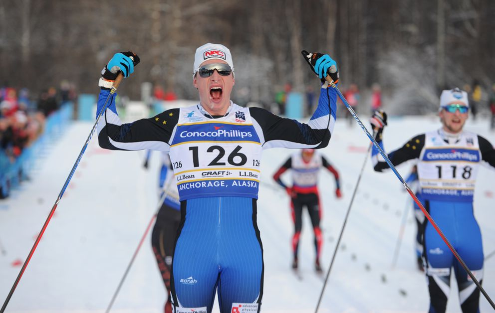 Eric Packer, right, finished second to Tyler Kornfield in the 30-kilometer classical race at the U.S. Cross Country Skiing Championships at Kincaid Park last month. (Bill Roth / ADN)