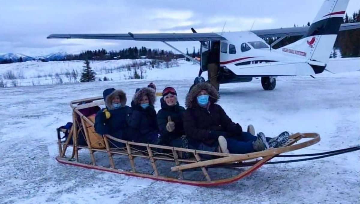 An all-female medical crew from Alaska's Maniilaq Health Center took a sled to deliver vaccine to the village of Shungnak in December. Katrina Bengaard.