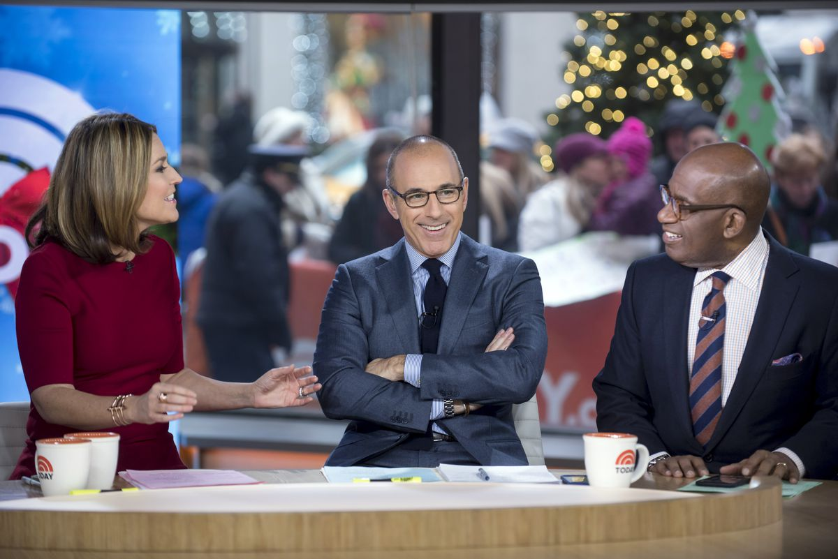 "FILE — Matt Lauer is flanked by co-anchor Savannah Guthrie and Al Roker on the set of the ""Today"" show in New York on Dec. 12, 2014. NBC has fired Lauer, its leading morning news anchor, over a sexual harassment allegation, the network's president for news said in a memo to staff on Nov. 29, 2017. (Karsten Moran/The New York Times)"
