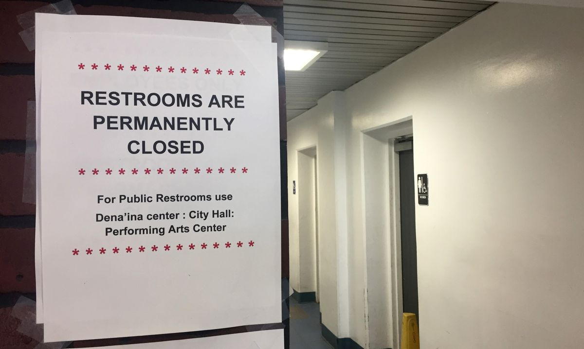The Anchorage transit center bathrooms are closed after a man tried to start a fire in one of them on Wednesday. (Devin Kelly / ADN)