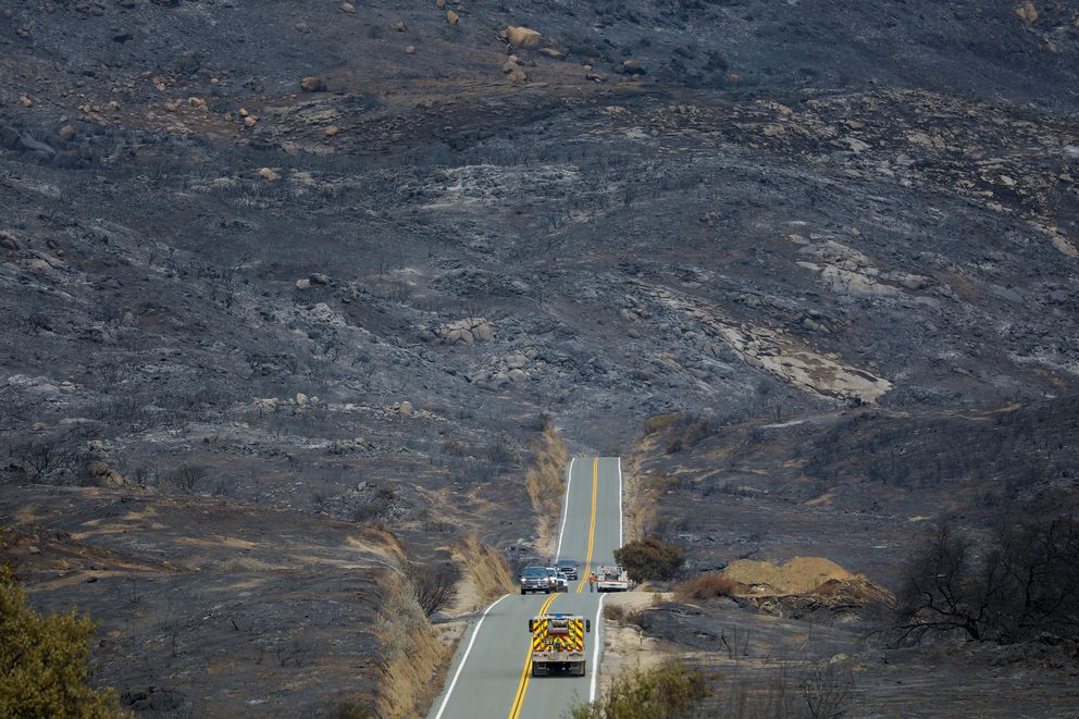 By Wednesday, Sept. 9, 2020, much of the surrounding area around Lyons Valley Road has been burned during the Valley Fire that began on Saturday. (Nelvin C. Cepeda/The San Diego Union-Tribune/TNS)