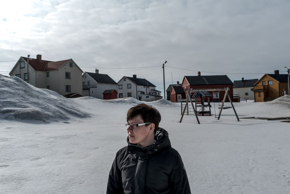 "May-Sissel Dorme in Vardo, an island town in Norway's remote northeast which is sustained in part by a secretive American-Norwegian radar facility, May 13, 2017. Many residents suspect the radars are a source of mysterious ailments, but are certain about a more existential threat. ""If war breaks out we will be the first place the Russians bomb,"" Dorme said. (Andrew Testa/The New York Times)"